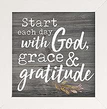 P. GRAHAM DUNN Start with God Grace Gratitude Rustic Grey Wood Look 7 x 7 Inch Pine Wood Framed Wall Art Plaque