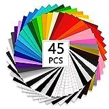 Vinylfolie Plotter Selbstklebend 45 Stück - 40 Plotterfolie Selbstklebend 30.5 x 30.5cm, 28 Farbe, 5 Transferfolie Mit Einem Schaber für Basteln und kreativen Arbeiten