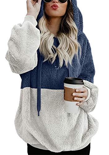 EFOFEI Damen Casual Winter Mantel Tops Fleece Hoodie mit reißverschluss Teddy Fleece Langarm Oversize Sweatshirt Mehrfarbig XXL