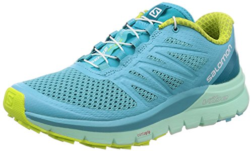 SALOMON Women's Sense Pro Max Running Trail Shoes Blue Curacao/Beach Glass/Acid Lime 10