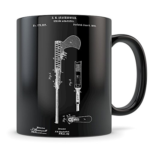 Airgun Mug - Great Air Gun Coffee Gift for Men and Women Student Graduation or Profession - Best Pressurized Shooter Themed Gift Idea - Cool Rifle Patent Cup