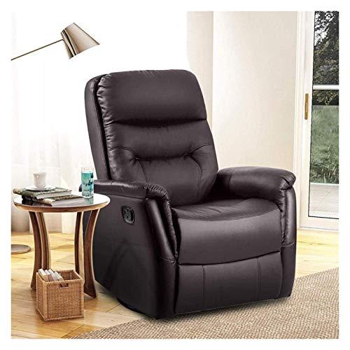 Sillón reclinable individual acolchado del asiento de la PU de cuero Sofá Salón de estar W / ajustable Funciones de apoyo for las piernas o echados Comfort mecedora Silla adecuada for la sala de estar