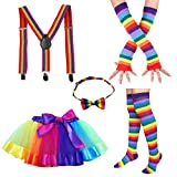 Faylapa 1970s 1980s Fancy Outfits Rainbow Costume Accessories for Cosplay Party
