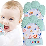 NEPAK 2 Pack Baby Teething Mitten,Baby Beißhandschuhe,Knisternder Handschuh für Babys,Age 3-12 Months(Cartoon Stil,Mint Colours)