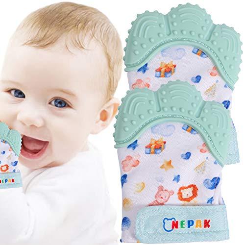 NEPAK 2 Pcs Guante Dentición Bebé,Guante mordedor bebé,Baby dentición Manoplas,Silicona Flexible,Protege Manos Bebés(Imagenes de Dibujos Animados,Colores Menta)