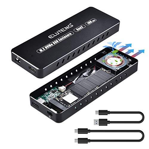 ELUTENG M.2 NVMe Gehäuse USB 3.1 Gen 2 10Gbp NVMe Gehäuse Unterstützt M Key 2280 2260 2242 2230 M.2 NVMe Adapter mit Lüfterkühler mit USB A & USB-C Kabel für PC Laptop PS4 PS3 Xbox One