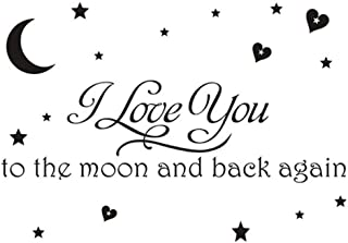 I Love You to the Moon and Back Again Wall Saying Decal Quotes Sticker, Creatiee-Pro Removable Vinyl Art Lettering Photo Wall Decor for Home Kids Room Living Room Bedroom Nursery - Meaningful & Unique