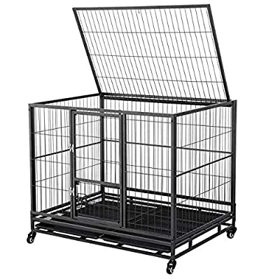 Yaheetech 43-inch Open Top Heavy Duty Strong Metal Pet Dog Cage Crate Kennel and Playpen Indoor Outdoor for Small/Medium/Large Dogs w/Double Doors & Locks & Double Tray & Lockable Wheels,Black