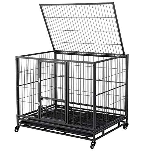 Yaheetech 43-inch Heavy Duty Metal Dog Cage Crate Collapsible Pet Kennel w/Double Doors & Locks/Lockable Wheels/Double Tray Indoor Outdoor Black