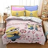 AQEWXBB Juego de ropa de cama de Minions, microfibra suave y ligera, bonito y fácil de limpiar, sin relleno, juego de 3 piezas (gris 1, 135 x 200 cm + 50 x 75 cm x 2)