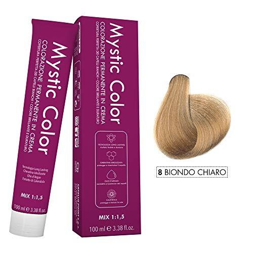 Mystic Color - Crème Colorante Permanente à l'Huile d'Argan et au Calendula - Coloration Longue Durée - Couleur Blond Clair 8 - 100ml