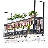 Casier à vin Suspendu au Plafond en Bois | Porte-Bouteilles de vin en métal avec Spots | Porte-Verre à vin Suspendu | Porte-vin...