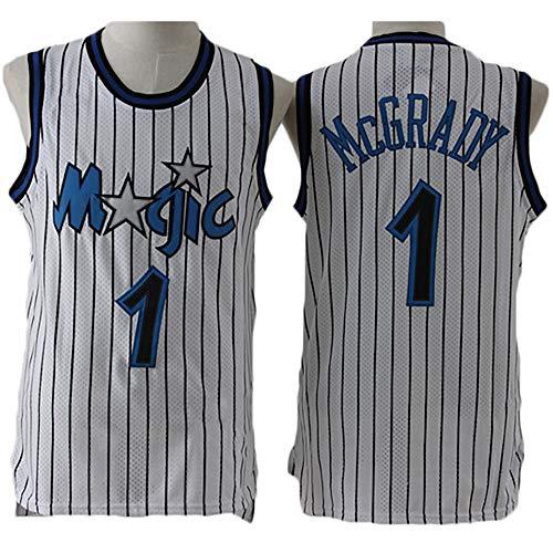 LITBIT Baloncesto para Hombre NBA Jersey Vintage Magic 1# McGrady Transpirable Quick Secking Sin Mangas Vestima Top para Deportes,Blanco,XL