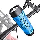 Kleine Bluetooth-Lautsprecher, tragbar, wasserdicht, IPX5, mit Taschenlampe, kabellos, Fahrrad-Lautsprecher, Bluetooth 5.0 Mini 15 St&en Wiedergabe AUX/TF-Karte/USB für Außenbereich & Reise (Blau)