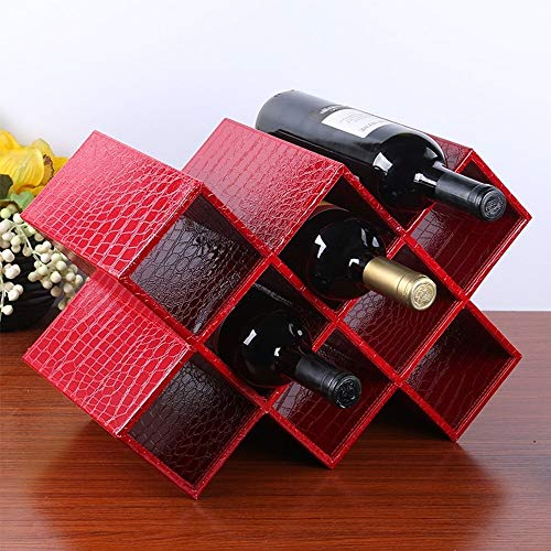 J+N JN wijnrek decoratie wijnrek MDF + leer wit/zwart/rood-desktop modern minimalistisch rek no assembly vereist eenvoudige opslag 4 kleuren 2 modellen beschikbaar 5-8 flessen