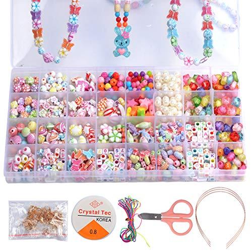 Set di perline fai da te, 32 diverse forme, perline colorate in acrilico, gioielli per bambini, kit di creazione di gioielli e artigianato fai da te, giocattoli per ragazze, bracciali, collane