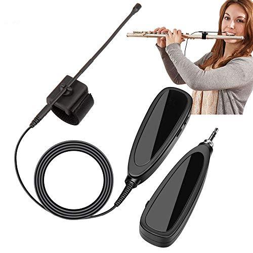 JASZW Omnidirektionale Kondensator Instrument Mikrofon, Auto-Match 2,4 GHz drahtlose Mini-Mikrofon für Bambusflöte, Flöte, Shaw, Mundharmonika, Klarinette