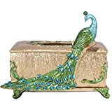 RC ZHIJINGKEJI Tissue Box Cover Square Tissue Holder Wooden Rustic Bathroom Facial Tissue Dispenser with Slide-Out Bottom