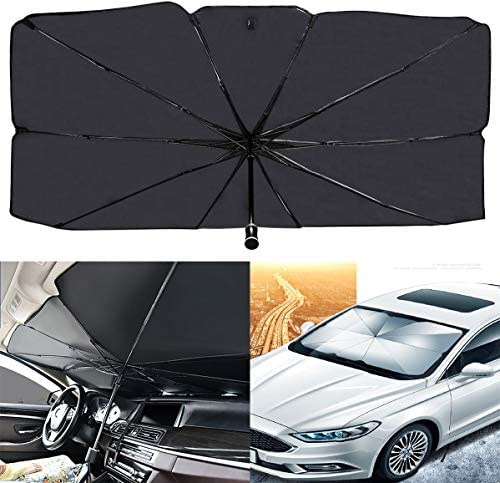 """AIKESI Car Umbrella Sun Shade Cover for Windshield UV Reflecting Foldable Front Car Sunshade Umbrella, Easy to Use/Store, 53"""" x 31"""", Fit Most Vehicle"""