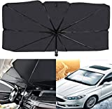AIKESI Car Umbrella Sun Shade Cover for Windshield UV Reflecting Foldable Front Car Sunshade Umbrella, Easy to Use/Store, 53'' x 31'', Fit Most Vehicle