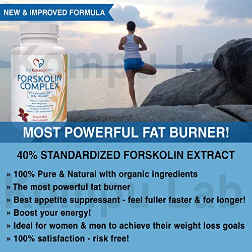 100% Pure Forskolin Extract 300MG - 40% Standardized for Weight Loss, Coleus Forskohlii Diet Supplement, Belly Fat Carb Burner Pills for Women + Men, Slim Trim Lose Belly Buster - 90 Vegan Capsules