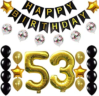 53rd Birthday Decorations Party Supplies Happy 53rd Birthday Confetti Balloons Banner and 53 Number Sets for 53 Years Old Party(Gold)