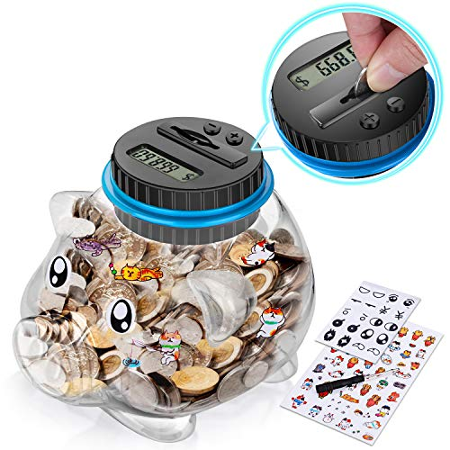 Digital Coin Piggy Bank, Coin Counter for Boys and Girls, Money Bank with Automatic LCD Display,Large Capacity, Digital Counting Money jar with Child Stickers – Educational and Fun Coin Jar