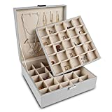 Frebeauty Earring Organizer Classic Jewelry Box 50 Slots Double Layer Jewelry Storage Case with 6 Necklace Hook and Bracelet Pocket (Grey)