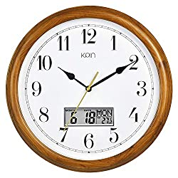 Kpin 14 inch Silent Quartz Decorative Real Wood Wall Clock Modern Style Good for Living Room & Home& Office (Cherry Wood, 14 Inch LCD)