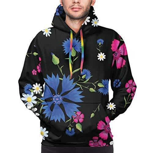 Nahtloses Muster des Kapuzenpullis der Männer mit kleinen weißen Gänseblümchen, rosa Nelke und blauen Kornblumen auf einem schwarzen Sweatshirt S.