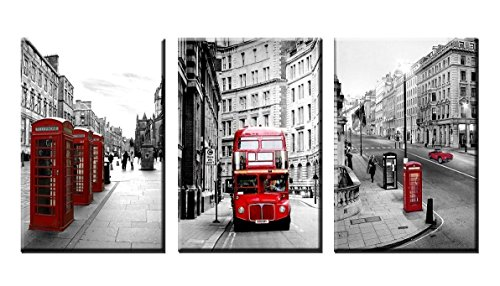 HERONEAR 3 Panels Black White London Street Red Bus Wall Art Picture on Canvas Paintings with Stretched Over Wood Frames Ready to Hang for Living Room (16x24inx3)
