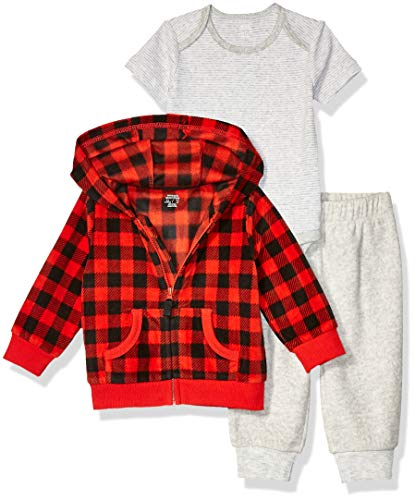 Amazon Essentials 3-Piece Microfleece Hoodie Set Fashion, Grey Buffalo Check, Recién nacido