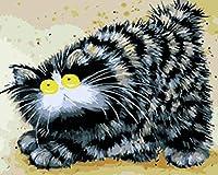 DNGFM 数字でペイントブラシとアクリル顔料付きキット大人のためのDiyキャンバスの油絵初心者動物黒猫16 x 20インチクリスマスの装飾ギフト-フレームレス