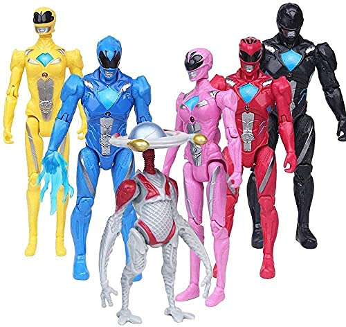 Power Rangers Action Figures Set of 6 Pieces - Power Rangers Action Figure Super Heroes Set - Toys Play Gift Game Superhero Toys - 5 Inches Toys