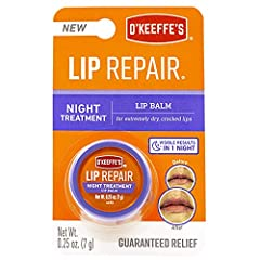 O'Keeffe's Lip Repair Night Treatment works while you sleep Contains deep conditioning oils Visible results in one night Relief for Extremely Dry, Cracked Lips Hypoallergenic Matte Finish
