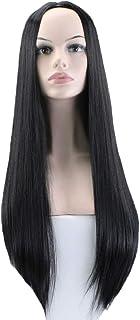 かつら - ファッションレディロングストレート高温抵抗シルクかつらパーティーロールハロウィン60cm黒を演奏 (色 : 黒, サイズ さいず : 60 cm 60 cm)