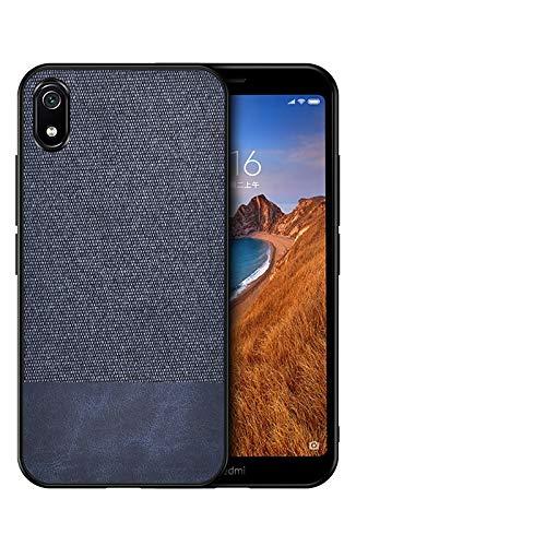 Telefoonstoot-splitsen PU + doek beschermhoes voor de Xiaomi Redmi 7A (grijs) stoot-, blauw