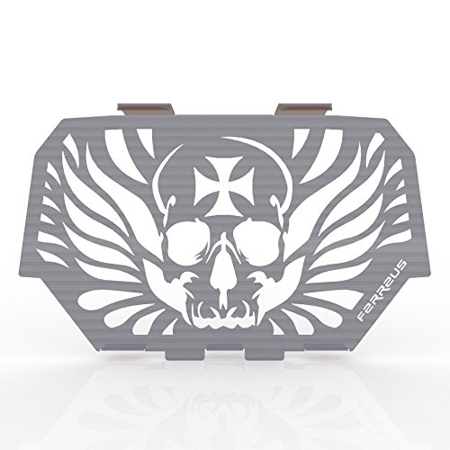 14-16 Polaris RZR 1000 Skull Polished Stainless Radiator Cover Grille fits