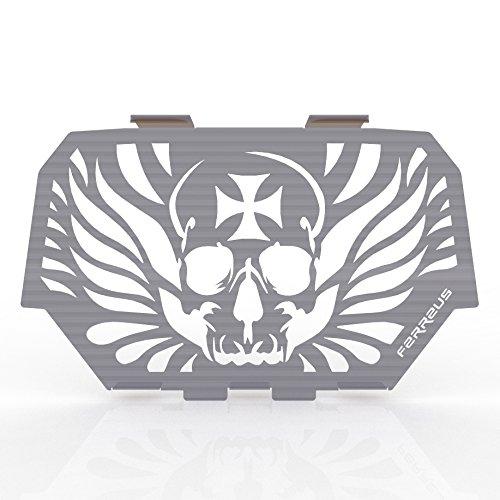 Skull Flame White Powdercoat Muffler Cover Grille fits 14-16 Polaris RZR 1000