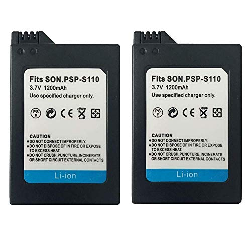 Vency 2Pcs High Capacity Rechargeable Lithium Ion Replacement Battery PSP-S110 Compatible for Sony PSP Slim Portable Playstation PSP-2000, PSP-2001, PSP-3000, PSP-3001, PSP-3002, PSP-3004