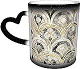 Azulejos de mármol Art Deco en gris carbón sensible al calor taza cambiante en el cielo tazas de café taza de cerámica regalos personalizados para los amantes de la familia amigos