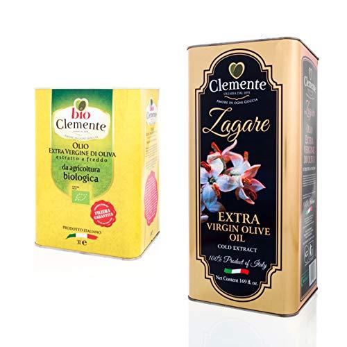 Huile Clemente - Offre Spéciale - 1 Boîte d'Huile d'Olive Extra Vierge Le Zagare, 5 Litres - 1 Boîte d'Huile d'Olive Extra Vierge Biologique Clemente, 3 Litres, 100% Italien Biologique.