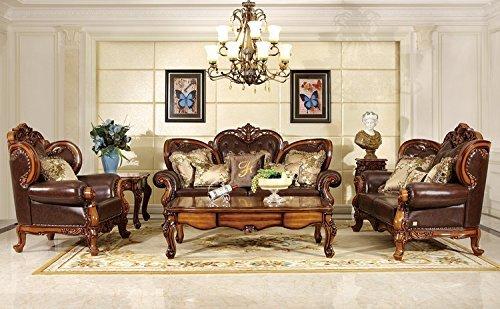 Ma Xiaoying Traditionelle Kollektion Wohnzimmermöbel-Set aus echtem Leder, Sofa, Zweisitzer, Sessel und 2 Tische, Dunkelbraun