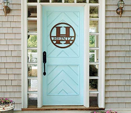 Monogram Front Door Circle, Last Name initial, Door Decor, Hanger, Wood, Indoor Outdoor, Family Letter, Monogram, House Decor