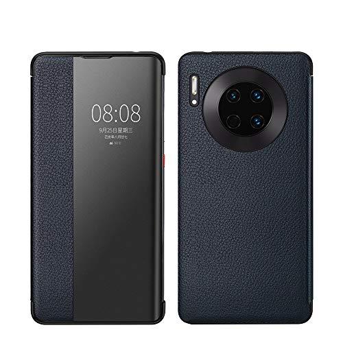 XYAL0002003 Voor Huawei Mate 30, Echt Leer Flip Open Raam Automatische Slaap wakker Smart Cover Case Shell Compatibel met Huawei Mate 30, Xingyue Aile Cases & Covers, Donkerblauw