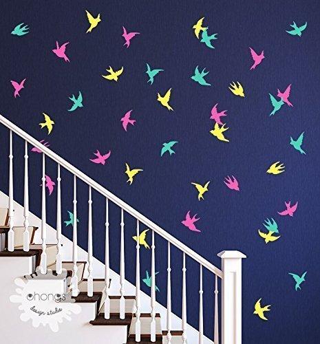 Bird Wall Decal / Flying Birds Wall Deal / 39 Birds Sticker / Unique Wall Decal / Wall Art