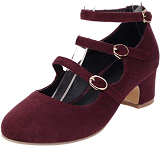 COOL CEPT Women Retro Mary Jane Pumps Shoes Mid Block Heels