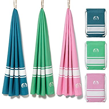 "Eden Cove Microfiber Beach Towel & Drawstring Pouch Beach Bag. Extra Large (71x39"") Quick Dry, Absorbent, Lightweight, Compact Travel Towel & Backpack for Pool, Swim, Beach Blanket"