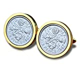 Genuine Polished 1967 Gold Sixpence Coin Cufflinks Vintage, 54th Birthday Anniversary Present, Gift Boxed