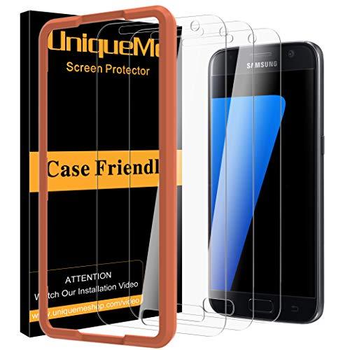 UniqueMe [3 Pezzi] Vetro Temperato per Samsung Galaxy S7 con Lo Strumento di Installazione, 9H Pellicola Protettiva Galaxy S7 Ultra Resistente [Bubble-Free]
